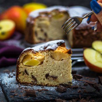 Protein- Apfelkuchen mit Schokostückchen