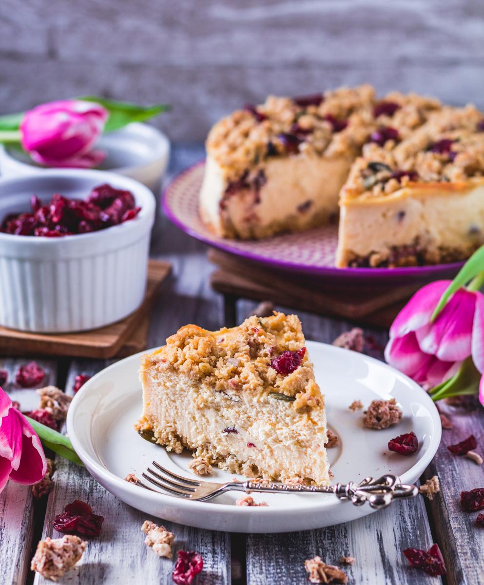 Cranberry Käsekuchen mit Energy cake