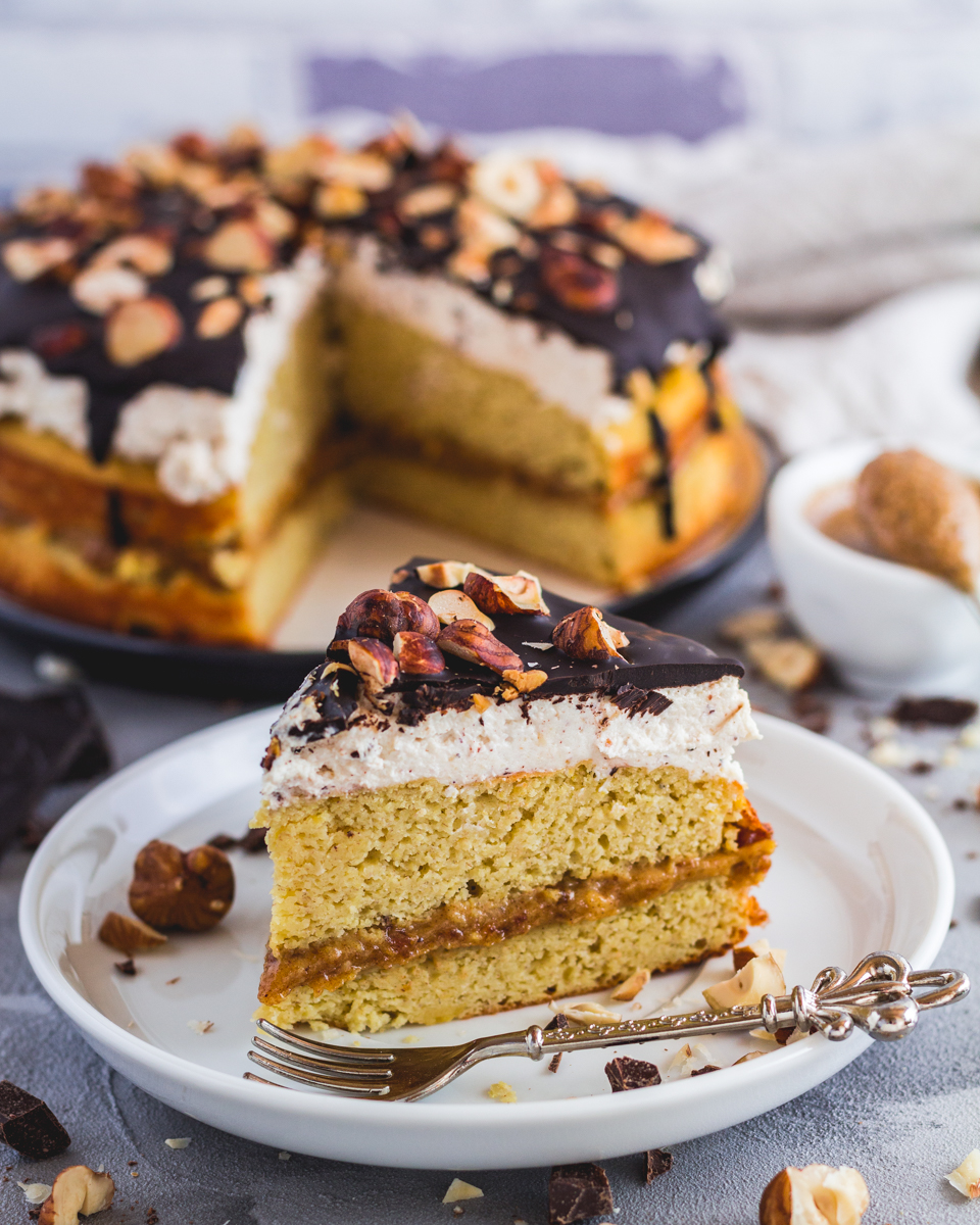 Gesunder Haselnuss Karamellcreme Kuchen Low Fat Proteinreich