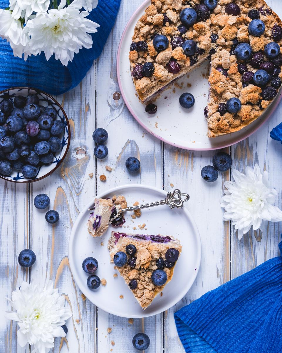 Blaubeer-Käsekuchen mit Streuseln - vegan