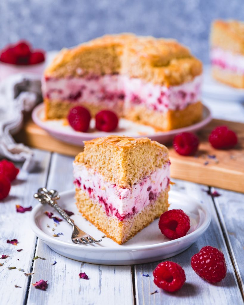 healthy bee sting cake with raspberries