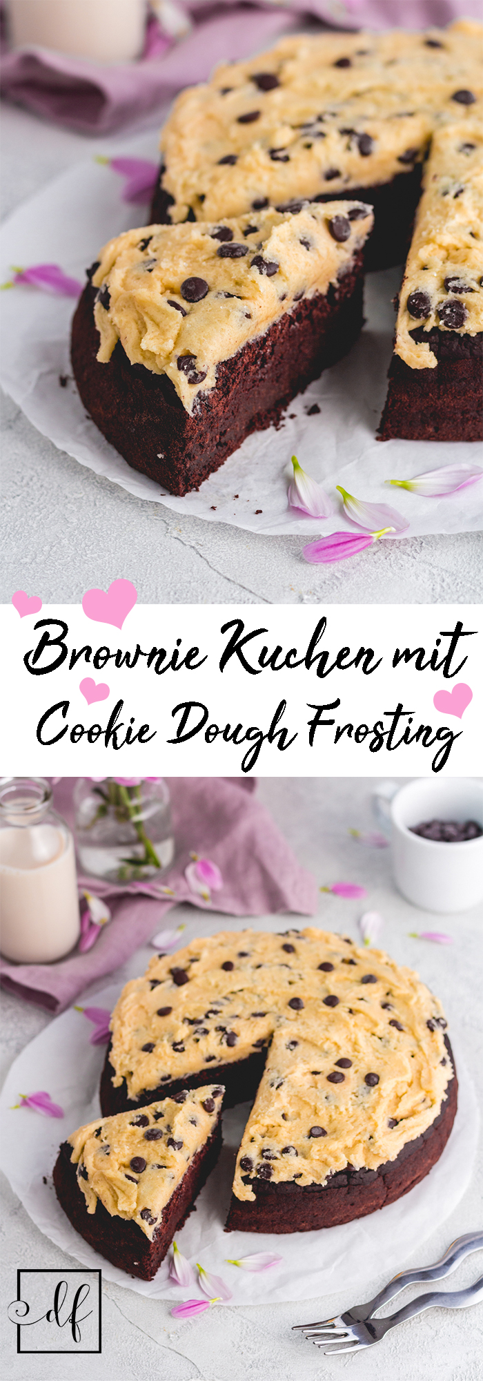 glutenfreier Brownie Kuchen mit Cookie Dough frosting - vegan
