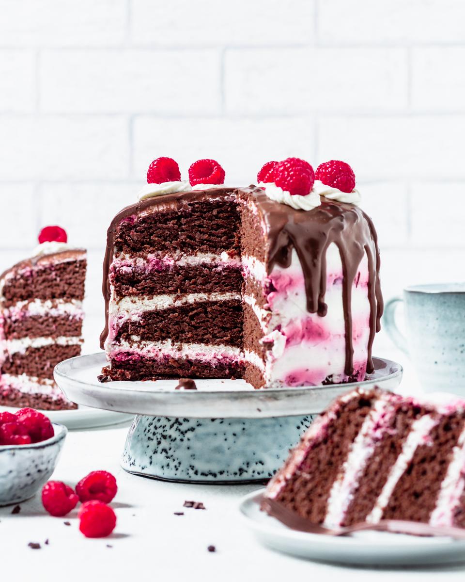 Kalorienarme Schoko-Himbeer Torte
