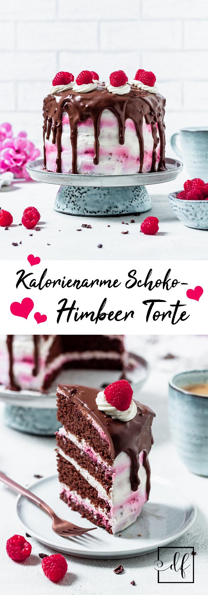 Zuckerfreie Schokotorte mit Himbeer-Sahne Frosting