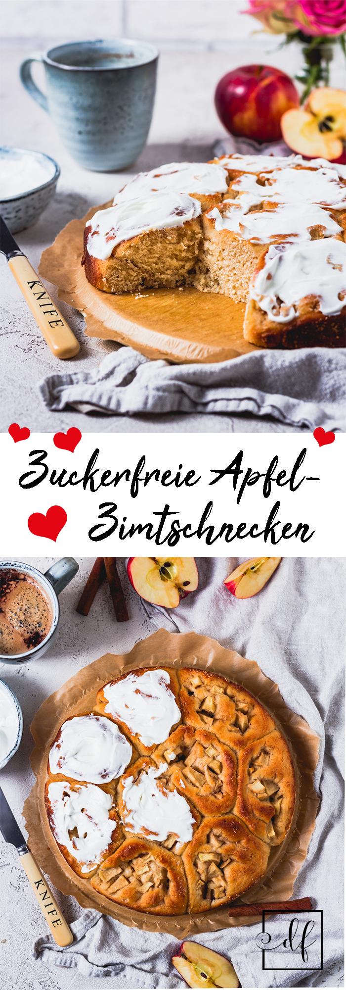 Pinterest Grafik für zuckerfreie Apfel-Zimt-Schnecken