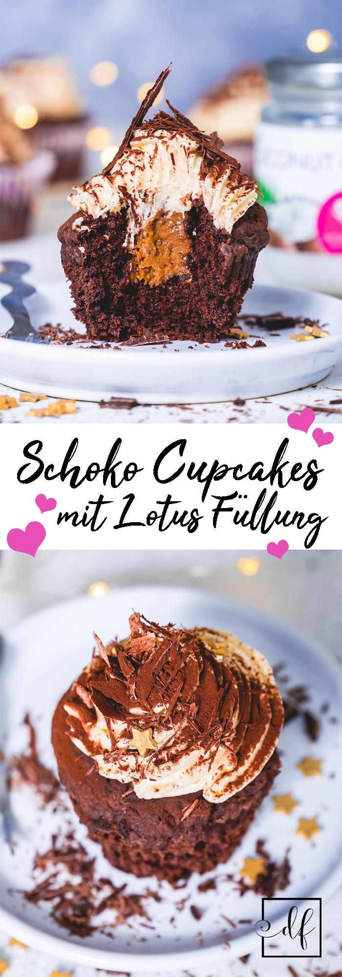gesunde, vegane Schoko Muffins mit Lotus Füllung und Buttercreme