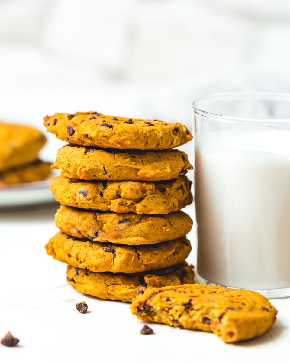 vegane Kürbis Kekse mit Schoko Drops
